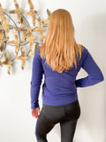 EDC Blue Mock Neck Zip 100% Cotton Athletic Sweater Jacket - S/M