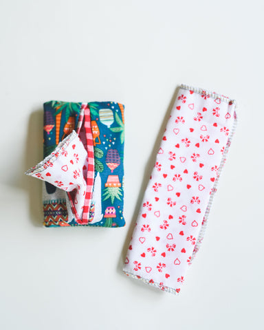 100% Cotton Tissue Reusable Zero Waste - Travel 4 Pack