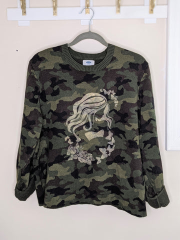 Green Camoflogue Golden Mermaid Sweater - Large