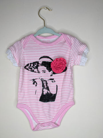Pink Audrey Hepburn Flower and Lace Baby Bodysuit - 6-9 months