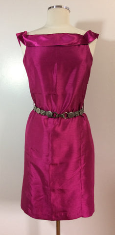 Bienvester Magenta Satin Dress