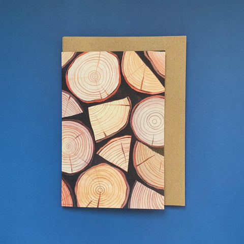 Firewood Wood Logs Outdoors Greeting Card Eco Friendly