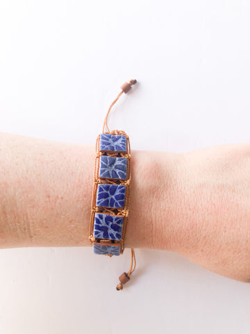 Cuban Braided Clay Camel and Blue Adjustable Bracelet
