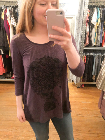 Eco Pretty Upcycled Purple Floral Woman Long Sleeve Top - Small - Le Prix Fashion & Consulting