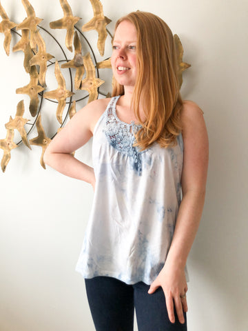 Reimagined Blue Watercolor Crochet Sleeveless Top - M/L