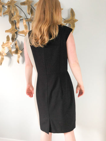 Calvin Klein Black Taupe Panel Sheath Dress - Size 12