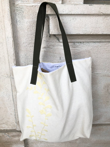 Cream Leaflet Upcycled Tote Bag by Eco Pretty