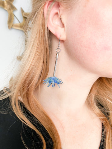 Czech Handmade Blue Cluster Dangle Earrings