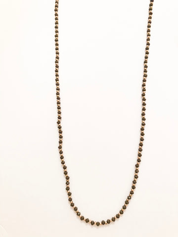Smoke and Gold Long Beaded Necklace