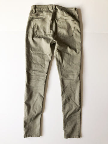 Design Lab Dusty Grey Green Mid Rise Stretch Skinny Pants - Size 26