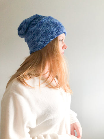Handmade Blue Knit Rolled Toque Hat