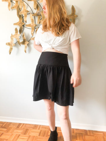 Kensie Black High Rise High Rise Yoke-Waist Skirt - S/M