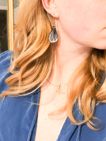 Resin Blue Swirl Teardrop Earrings - Le Prix Fashion & Consulting