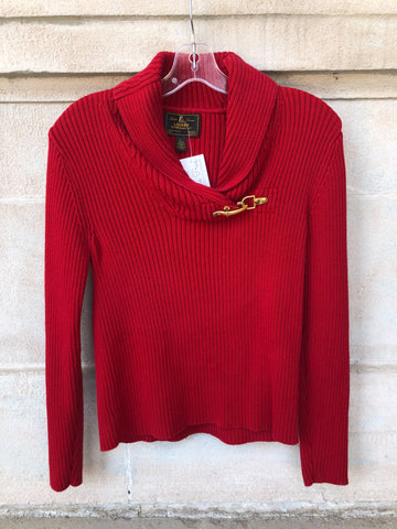 LAUREN Ralph Lauren Red Ribbed Collared Knit 100% Cotton Sweater - M/L
