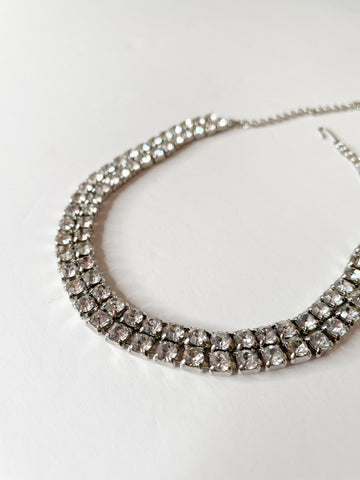Two Strand Silver Crystal Choker Necklace
