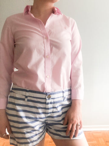 Ralph Lauren Light Pink Cotton Non-Iron Button Up Cropped Sleeve Shirt - S/M