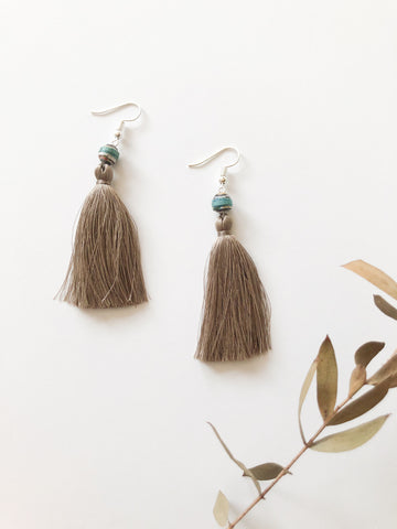 Handmade Recycled Paper & Silk Tassel Earrings Supporting Disabled Women in Laos