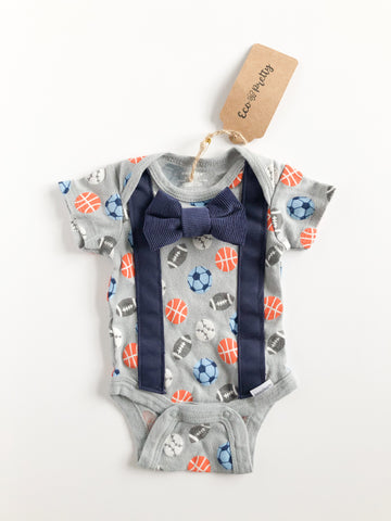 Grey Sports Suspender Bowtie Upcycled Bodysuit by Eco Pretty - Newborn - Le Prix Fashion & Consulting