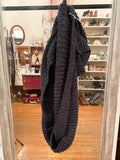 Navy and Silver Knit Circle Scarf