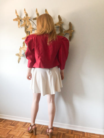 Vintage Silhouettes Red Lace Puff Sleeve Cropped Short Sleeve Blazer - S/M