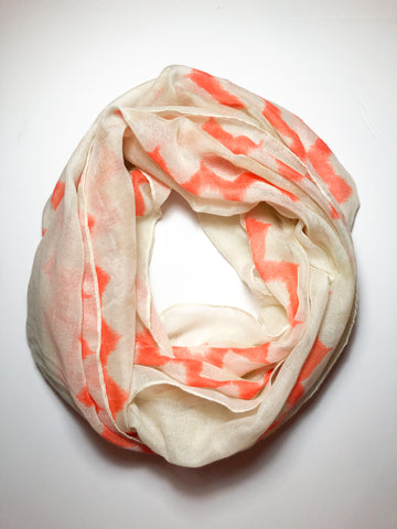 Kismet Orange and Sand Watercolor Chevron Circle Scarf