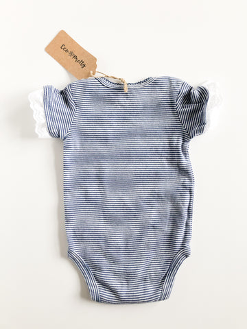 Blue Stripe Lace Under the Sea Upcycled Bodysuit by Eco Pretty - 6 Months - Le Prix Fashion & Consulting