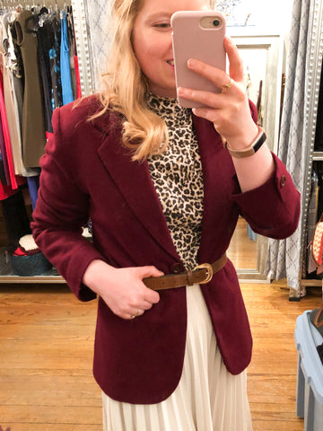 Bloomingdales Petite Burgundy Wool Blazer - Le Prix Fashion & Consulting