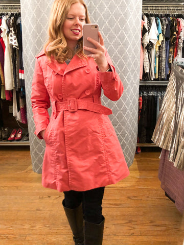Joe Fresh Pink A-Line Cropped Sleeve Cotton Trench Coat - Le Prix Fashion & Consulting