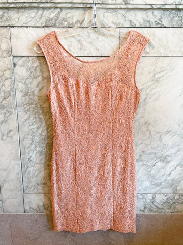 Blush Sweetheart Lace Sleeveless Mini Dress - XS