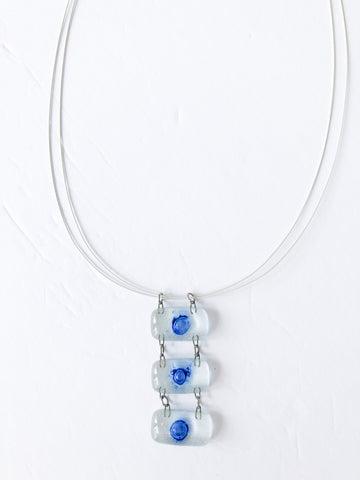 Calgary Artisan Made White Wire Glass Trio Necklace