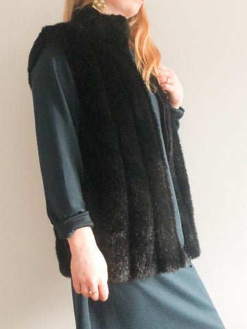 Black Faux Fur Paneled Vest - S/M