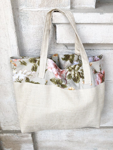 Floral Woven Upcycled Tote Bag by Eco Pretty