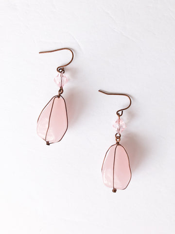 Pink Quartz Copper Wire Dangle Earrings