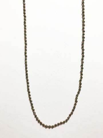 Smoke Grey and Gold Long Bead Necklace
