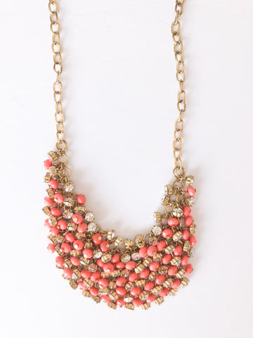 Coral Gold Sparkle Cluster Statement Necklace