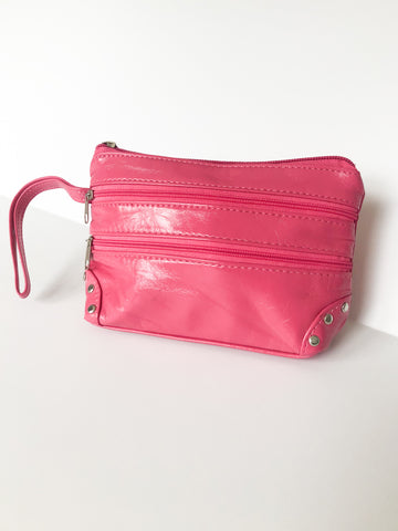 Pink Faux Leather Zipper Clutch / Toiletry Bag