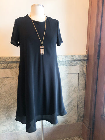 St. Michel Marks & Spencer Black Satin Trimmed A-Line Dress - Le Prix Fashion & Consulting