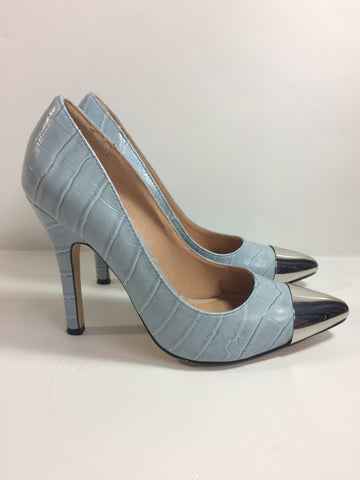 Allie Baby Blue Croc Silver Capped Toe Heels - Le Prix Fashion & Consulting