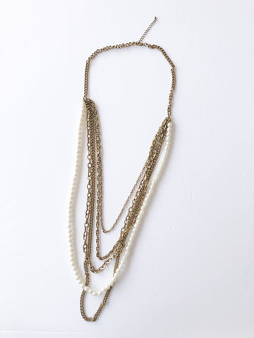 Faux Pearl Gold Chain Layered Long Necklace