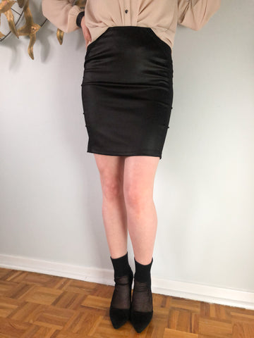 Black High Waist Sheen Paneled Mini Skirt - Small