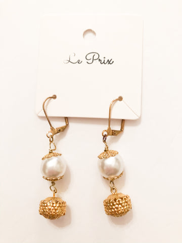 Gold Pearl Orb Drop Earrings - Le Prix Fashion & Consulting