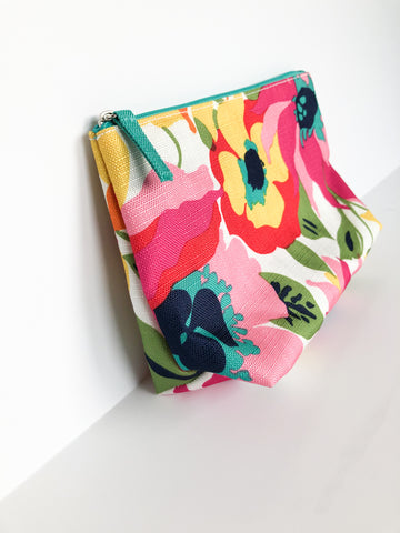 Pink Floral Clutch with Teal Lining