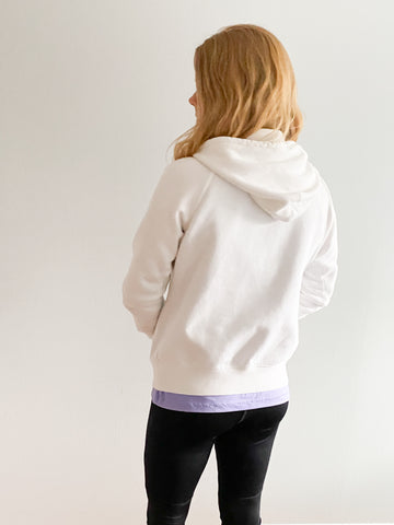 Nike White Cotton Blend Zip Up Hoodie Sweater - Le Prix Fashion & Consulting