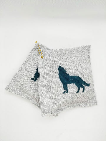 Grey Knit Wolves Reusable Mini Microwavable Hand & Pocket Warmers Set - Upcycled with Flax Seed & Vanilla Essential Oil
