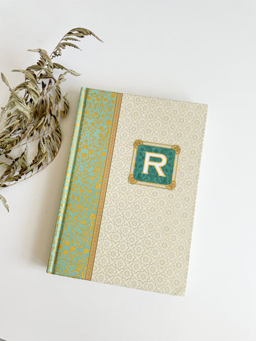 "Punch Studio Gold and Turquoise Monogram ""R"" Letter Hardcover Lined Notebook"