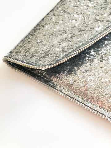 Silver Sparkly Glossed Zipper Envelope Clutch Purse - NWOT