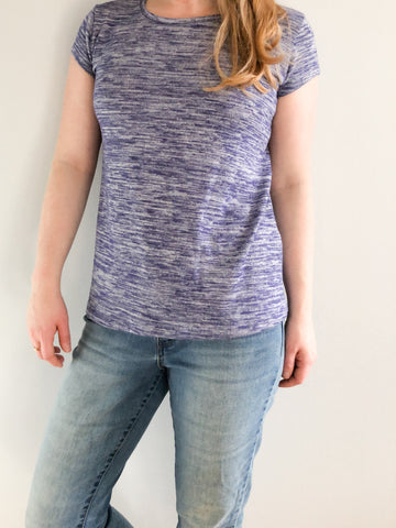 Calvin Klein Jeans Heathered Purple Stretch Knit T-Shirt - XS/S