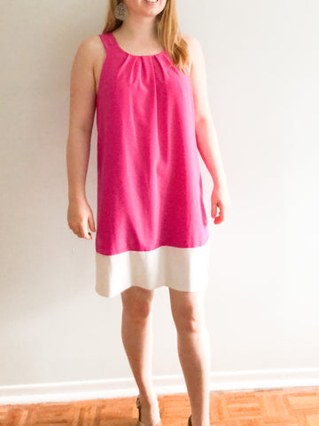 Oleg Cassini Pink Colourblock Shift Dress - Size 10