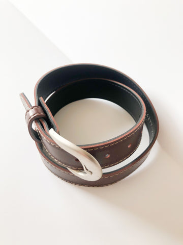 "Chocolate Brown Made in Canada Silver Buckle Belt - 25.5"" - 29"" XS"