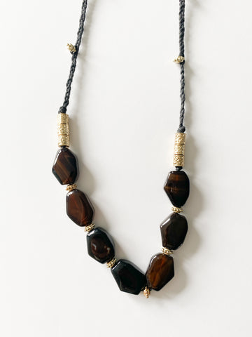 Boho Long Black Stone and Gold Bead Rope Necklace - Le Prix Fashion & Consulting